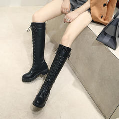 Women's PU Chunky Heel Pumps Platform Boots Knee High Boots With Lace-up shoes
