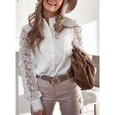 Solid Lace Stand collar Long Sleeves Button Up Elegant Blouses