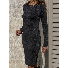 Sequins Long Sleeves Bodycon Knee Length Little Black/Casual Dresses