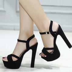 Women's Suede Stiletto Heel Sandals Pumps Platform Peep Toe Slingbacks With Buckle shoes