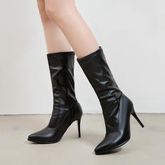 Women's PU Stiletto Heel Mid-Calf Boots With Zipper shoes