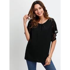 Lace Round Neck Short Sleeves Casual Elegant Blouses