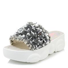 Women's Fabric Wedge Heel Sandals Platform Peep Toe With Sequin shoes