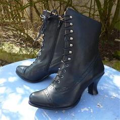 Femmes PU Talon kitten Bottes Bottes mi-mollets avec Dentelle chaussures