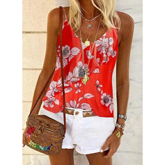 Print Floral Spaghetti Strap Sleeveless Casual Tank Tops
