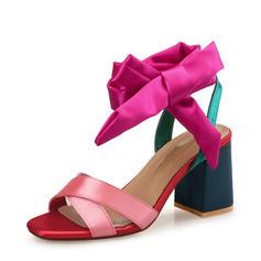 Women's Satin Chunky Heel Sandals Pumps Peep Toe Slingbacks With Bowknot shoes