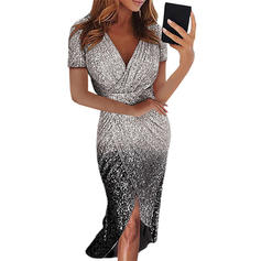 Sequins Short Sleeves Sheath Midi Party Dresses
