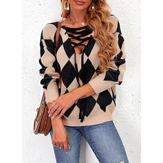 Impresión Geométrico Cuello en V Casual Suéteres