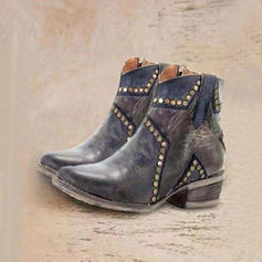Women's PU Low Heel Ankle Boots With Rivet shoes