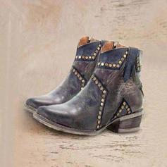 Kvinner PU Lav Hæl Ankelstøvler med Rivet sko