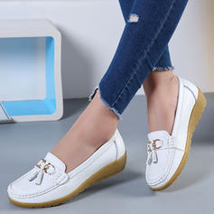 Women's PU Low Heel Flats With Bowknot Tassel shoes