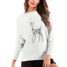 Animal Print Cartoon Christmas Round Neck Sweaters