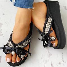 Vrouwen Doek Mesh Flat Heel Sandalen Peep Toe Flip Flops Slippers met strik Imitatie Parel schoenen