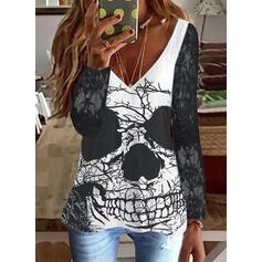 halloween Impresión Cuello en V Manga Larga Camisetas