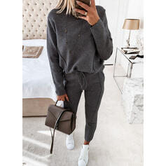Solid Casual Drawstring Two-Piece Outfits