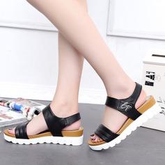 Women's Leatherette Wedge Heel Sandals Peep Toe Slingbacks With Rivet shoes