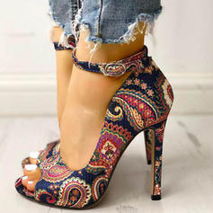 Women's Fabric Stiletto Heel Pumps Peep Toe With Buckle shoes