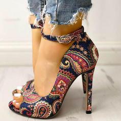 Frauen Stoff Stöckel Absatz Absatzschuhe Peep Toe mit Schnalle Schuhe