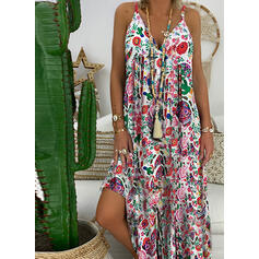 Print/Floral Sleeveless A-line Slip/Skater Casual Maxi Dresses