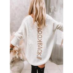 Nadruk Wytłaczany Dekolt w kształcie litery V Nieformalny Sukienka sweterkowa