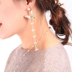 Butterfly Shaped Alloy With Imitation Pearl Women's Earrings