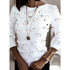Print Heart Round Neck Long Sleeves Casual Blouses