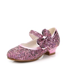 Girl's Sparkling Glitter Low Heel Closed Toe Flower Girl Shoes With Bowknot Sparkling Glitter