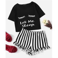 Round Neck Short Sleeves Stripe Brief Pajamas Sets
