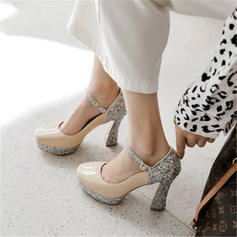 Women's Sparkling Glitter Chunky Heel Pumps Platform With Sequin Split Joint shoes