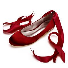 Femmes Soie comme du satin Talon plat Bout fermé Chaussures plates avec Dentelle