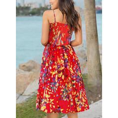 Print/Floral Sleeveless A-line Casual/Boho/Vacation Midi Dresses