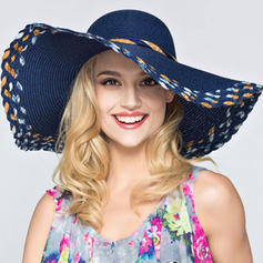 Ladies' Classic Rattan Straw With Bowknot Floppy Hat