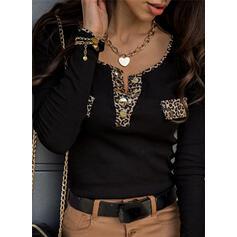 luipaard V-hals Lange Mouwen Dichtknopen Casual Overhemd