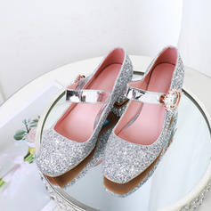 Women's Leatherette Chunky Heel Pumps With Beading Sequin Buckle Jewelry Heel shoes