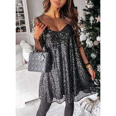 Sequins/Solid Long Sleeves Shift Above Knee Little Black/Sexy/Party Dresses