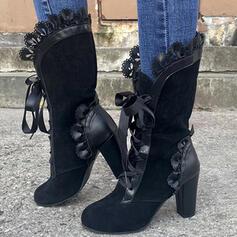 Femmes PU Talon bottier Bottes Bottes mi-mollets avec Plissé Dentelle chaussures
