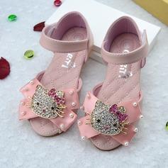 tytön tekonahka Flat Heel Peep toe Sandaalit Matalakorkoiset Flower Girl Kengät jossa Bowknot Tarranauha Kristalli