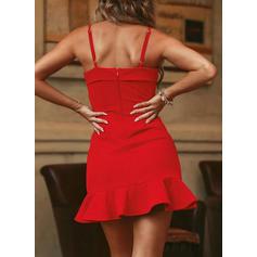 Jednolita Bez rękawów W kształcie litery A Nad kolana Przyjęcie Sukienki