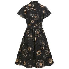 Print Short Sleeves A-line Knee Length Party/Halloween Shirt/Skater Dresses