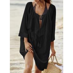 Solid Color U Neck Elegant Cover-ups Swimsuits