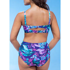 Talie Înaltă Tropikal Baskı Curea Decolteu în V Sexy Frumos Proaspăt Atractiv Büyük beden Bikini Mayolar