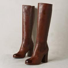 Жіночі Шкіра Квадратні підбори Чоботи Черевики вище колін з Блискавка взуття