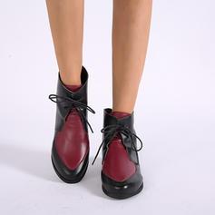 Vrouwen PU Chunky Heel Enkel Laarzen Martin Boots met Vastrijgen schoenen