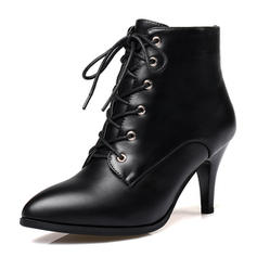 Women's Leatherette Stiletto Heel Boots Ankle Boots With Lace-up shoes