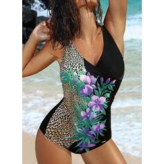 Blommig Tryck Tryck upp Rem V-ringning Sexig Extra stor storlek Baddräkter Badkläder