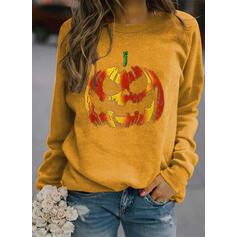 Halloween Tisk Kulatý Výstřih Dlouhé rukávy Hanorac