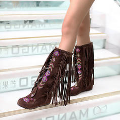 Women's Suede Flat Heel Mid-Calf Boots Snow Boots With Tassel Braided Strap shoes
