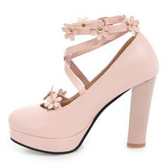Women's Leatherette Chunky Heel Pumps Platform Closed Toe With Applique Imitation Pearl shoes
