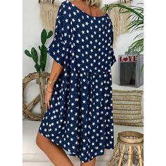 Print 3/4 Sleeves Shift Knee Length Casual Dresses