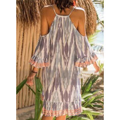 Lace/Tie Dye 3/4 Sleeves Shift Knee Length Casual/Vacation Tunic Dresses